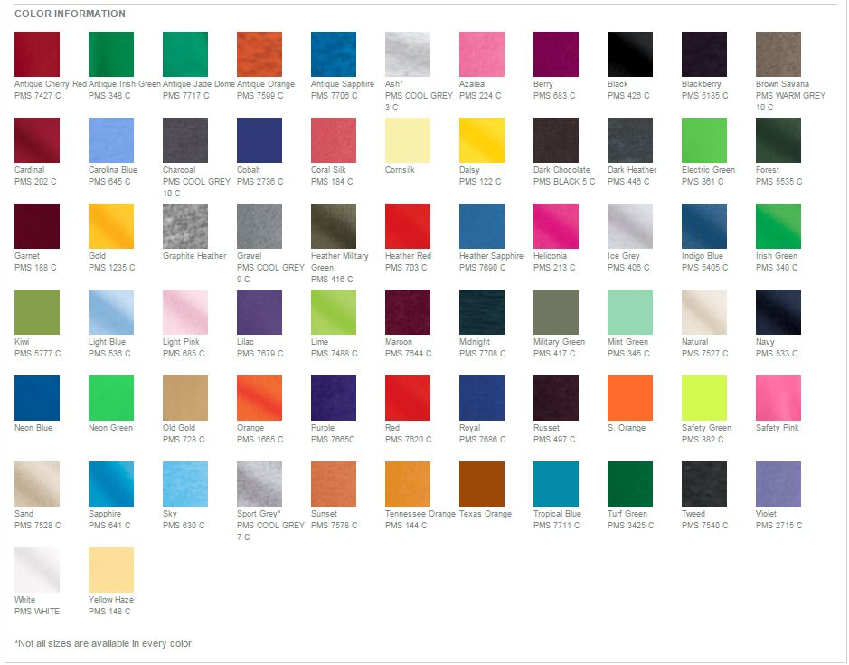 Gildan 5000 Color Chart Rebellions