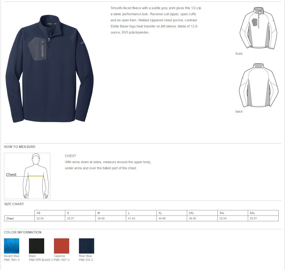 Eddie Bauer Spec Sheet