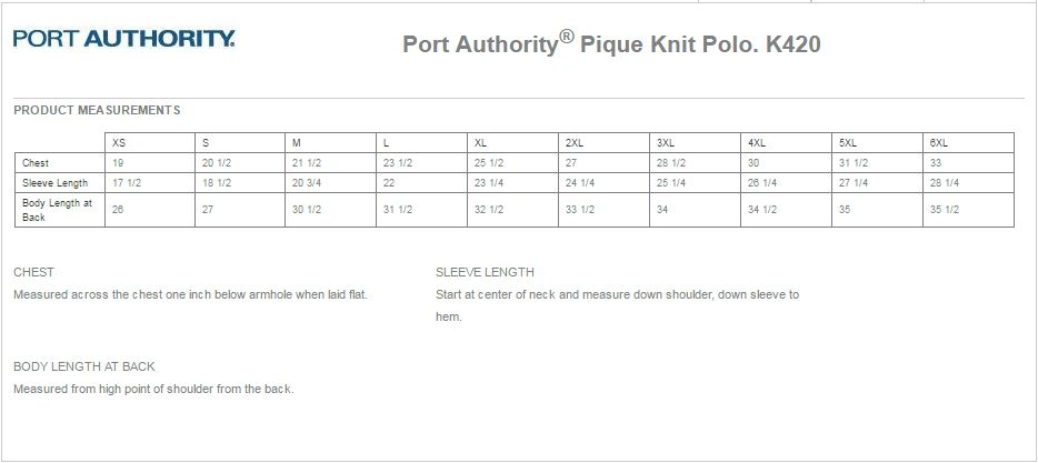 Port Authority K420 Size Chart