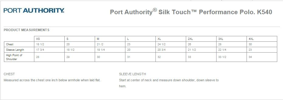Port Authority K540 Size Chart