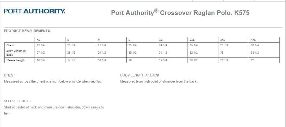 Port Authority K575 Size Chart