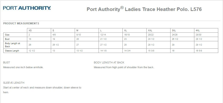 Port Authority L576 Size Chart