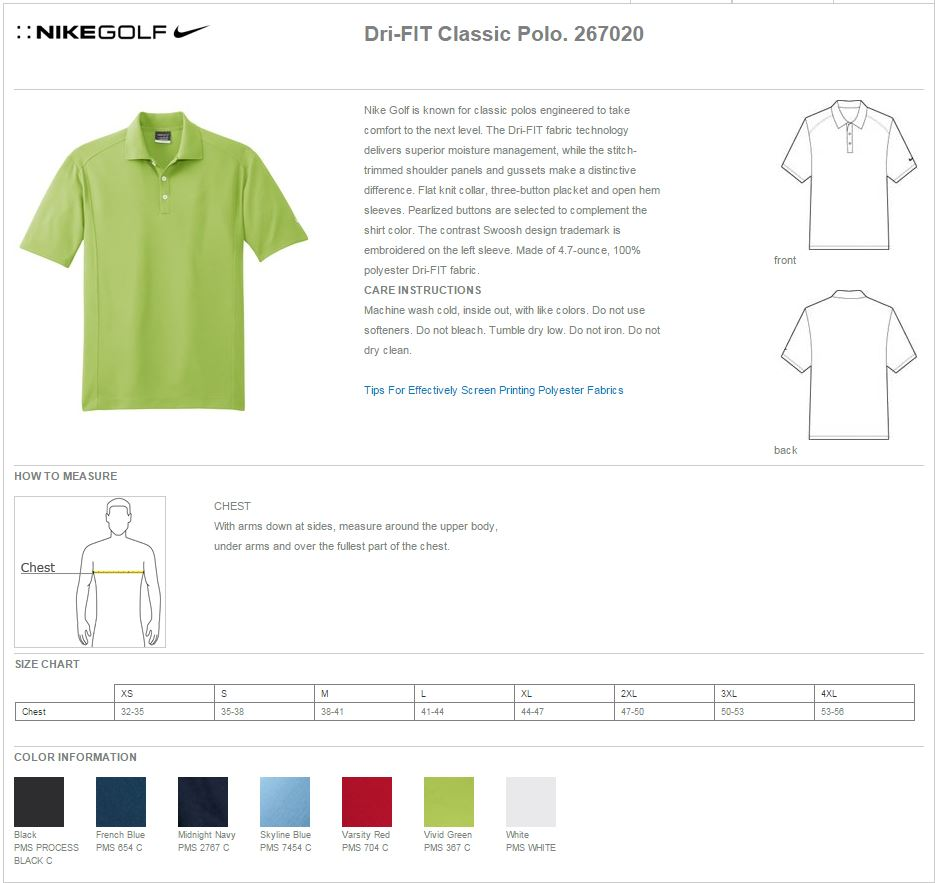 Nike golf 267020 dri fit classic polo shirts nike golf 267020 specs geenschuldenfo Image collections