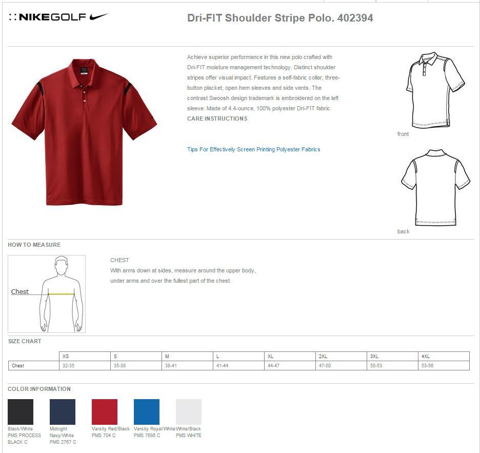 8908db55 Nike Golf 402394 Mens Dri-Fit Shoulder Stripe Polo Shirts