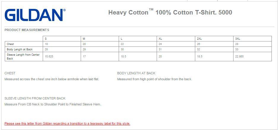 gildan heavy cotton size chart: Gildan 5000 heavy cotton 100 cotton t shirt