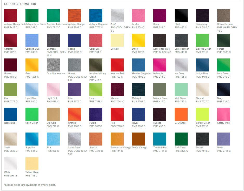 Gildan T Shirt Colors Po Al The Fashions Of Paradise