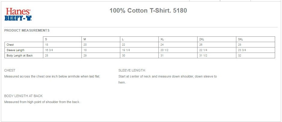 Hanes 5180 Size Chart