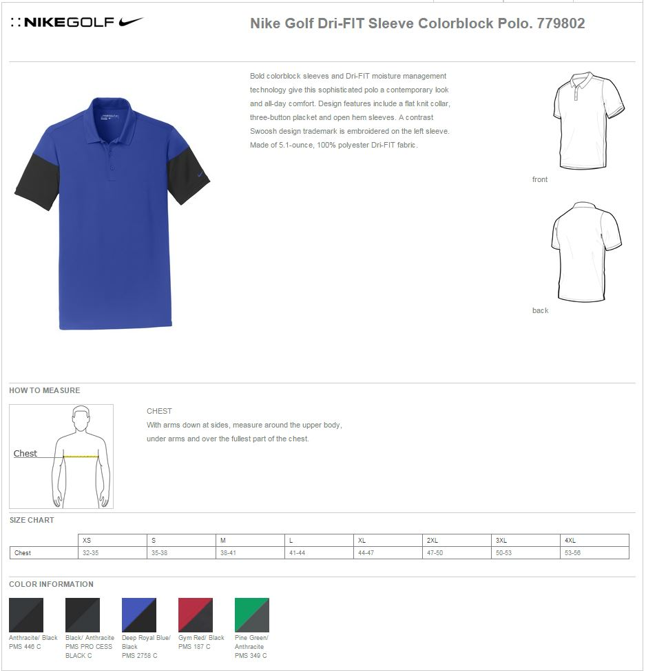 Nike Golf 779802 Spec Sheet