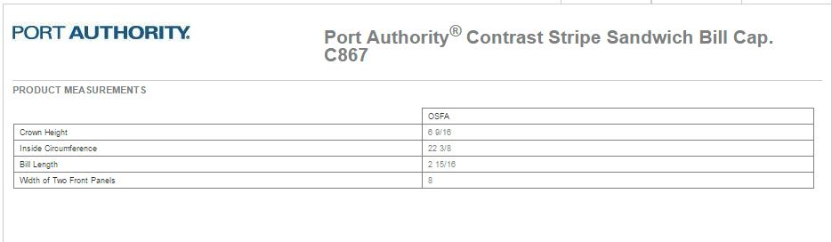 Port Authority C867 Size Chart