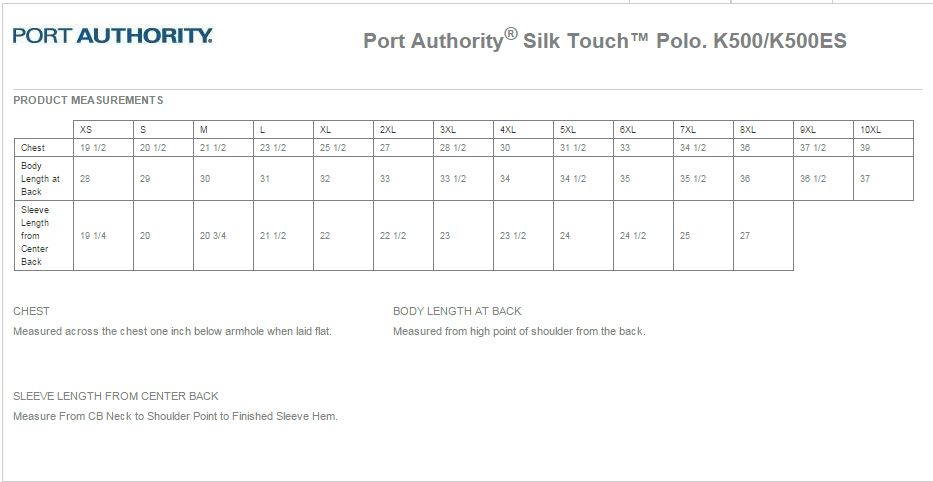 Port Authority K500 Size Chart