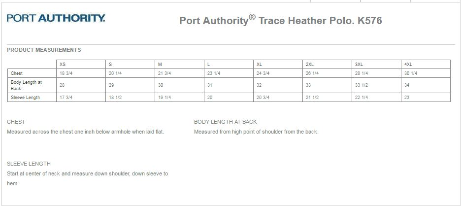 Port Authority K576 Size Chart