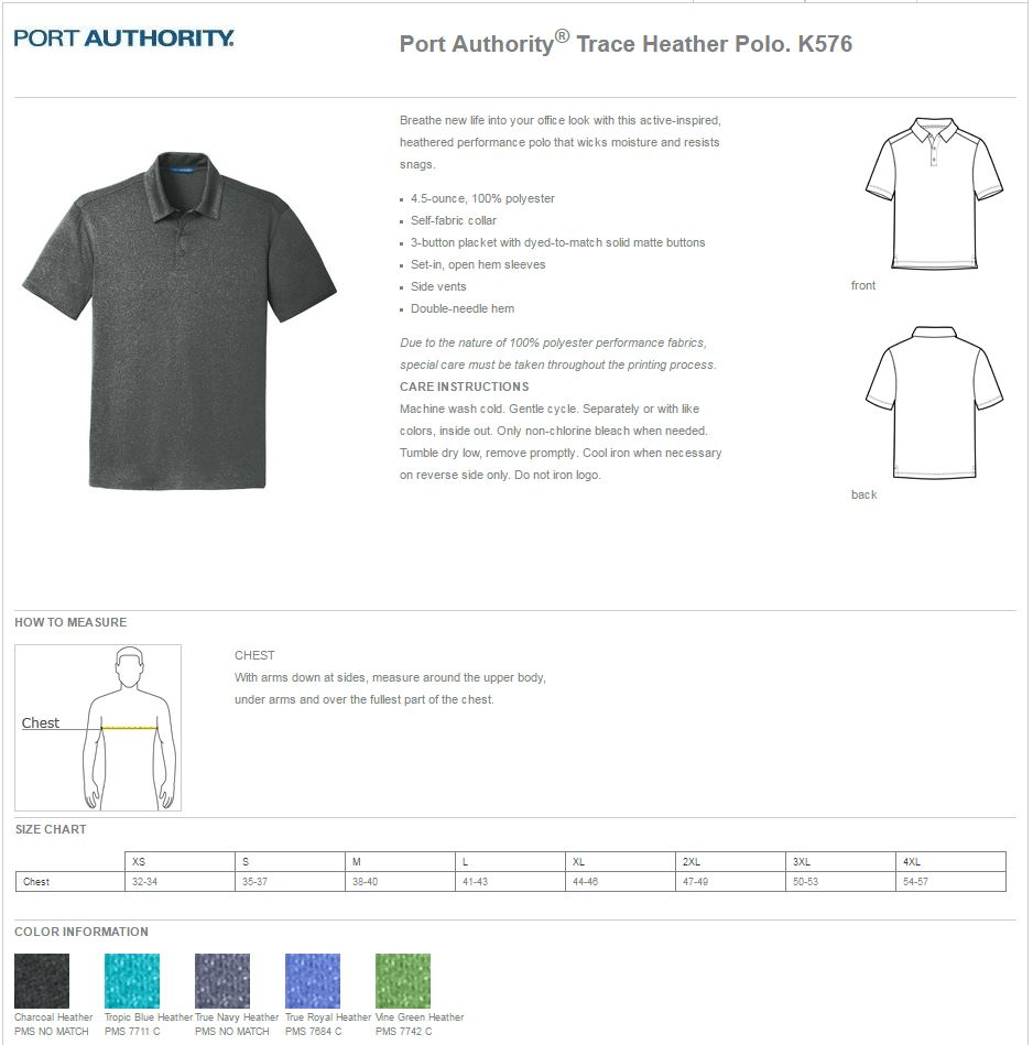 Port Authority K576 Specs