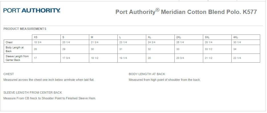 Port Authority K577 Size Chart