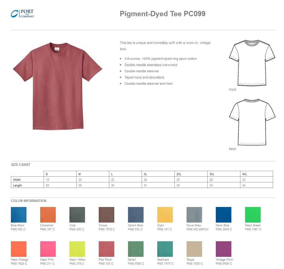 Port & Company PC099 Pigment-Dyed Tee Shirts